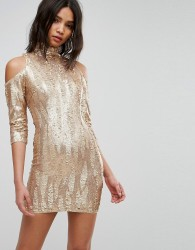 TFNC High Neck Sequin Mini Dress With Cold Shoulder - Cream