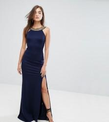 TFNC Highneck Maxi Dress With Embellished Back - Navy