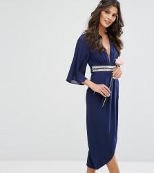 TFNC Kimono Sleeve Midi Bridesmaid Dress with Wrap Skirt - Navy