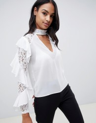 TFNC lace ruffle sleeve top with cut out detail - White