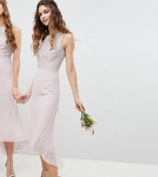 TFNC Lace Up Back Midi Bridesmaid Dress - Brown