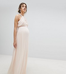 TFNC Maternity bridesmaid exclusive wedding pleated maxi dress in pearl pink - Pink
