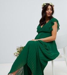 TFNC Maternity flutter sleeve bridesmaid maxi dress with pleated skirt in forest green - Green