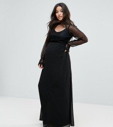 TFNC Maternity High Neck Long Sleeve Lace Maxi With Velvet Trims - Black