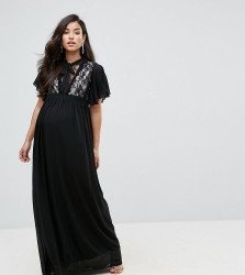 TFNC Maternity Highneck Maxi Dress With Top Lace Insert - Black