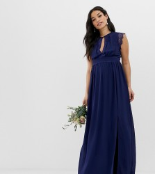 TFNC Maternity lace detail maxi bridesmaid dress in navy - Navy