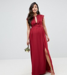 TFNC Maternity Lace Detail Maxi Bridesmaid Dress - Red