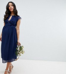 TFNC Maternity Lace Detail Midi Bridesmaid Dress - Navy