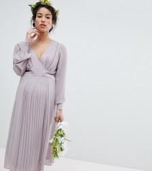 TFNC Maternity Long Sleeve Midi Bridesmaid Dress With Pleated Skirt - Grey