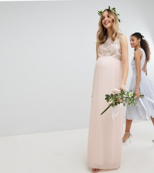 TFNC Maternity Maxi Bridesmaid Dress With Soft Floral Sequin Top - Pink