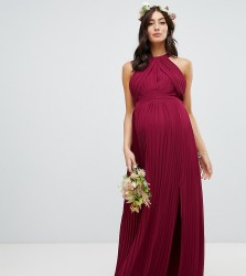 TFNC Maternity pleated bridesmaids maxi dress in burgundy - Red