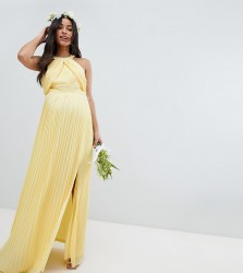 TFNC Maternity Pleated Maxi Bridesmaid Dress - Yellow