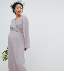 TFNC Maternity Pleated Wrap Front Maxi Bridesmaid Dress with Cape Detail - Grey