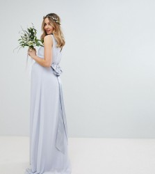 TFNC Maternity Sateen Bow Back Maxi Bridesmaid Dress - Grey