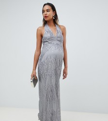TFNC Maternity sequin maxi dress with open back in silver - Silver