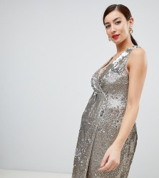 TFNC Maternity sequin midi wrap dress in gold - Gold