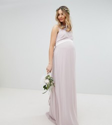TFNC Maternity wedding sateen bow back maxi dress - Brown