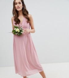 TFNC Maternity Wrap Front Midi Bridesmaid Dress With Tie Back - Pink