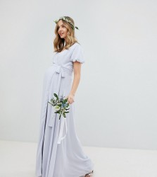 TFNC Maternity Wrap Maxi Bridesmaid Dress With Tie Detail And Puff Sleeves - Grey