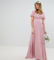 TFNC Maternity Wrap Maxi Bridesmaid Dress With Tie Detail And Puff Sleeves - Pink