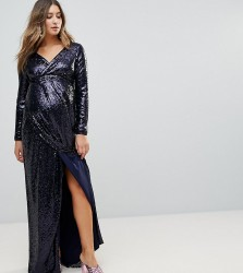 TFNC Maternity Wrap Over Sequin Maxi Dress - Navy
