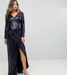 TFNC Maternity Wrap Over Sequin Maxi Dress - Navy