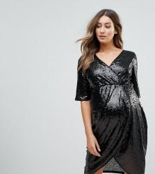 TFNC Maternity Wrap Over Sequin Midi Dress - Black