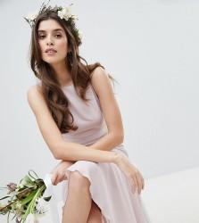 TFNC Maxi Bridesmaid Dress With High Low Hem - Brown