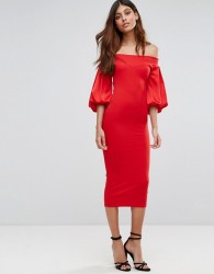 TFNC Off Shoulder Midi Dress With Blouson Sleeve - Red