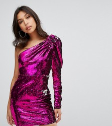 TFNC One Shoulder Sequin Mini Dress - Pink
