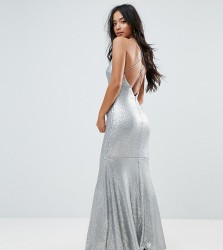 TFNC Petite Allover Sequin Maxi Dress With Strappy Back - Silver