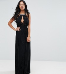 TFNC Petite High Neck Embellished Maxi Dress With Lace Insert - Black