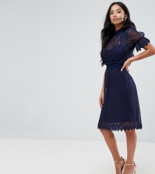 TFNC Petite High Neck Pleated Lace Midi Dress With Smoked Waist - Navy