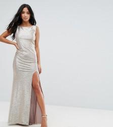 TFNC Petite Highneck Metallic Maxi Dress With Back Knot - Gold