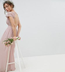 TFNC Petite Maxi Bridesmaid Dress with Scalloped Lace and Open Back - Brown