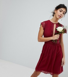 TFNC Petite WEDDING Lace Detail Midi Dress - Red