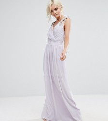 TFNC Petite Wedding Wrap Front Maxi Dress With Embellishment - Purple