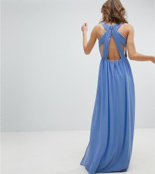 TFNC Pleated Maxi Bridesmaid Dress With Back Detail - Blue