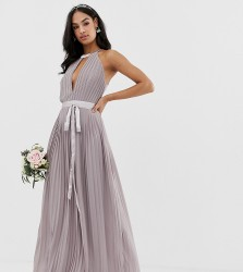 TFNC pleated maxi bridesmaid dress with cross back and bow detail in grey - Grey