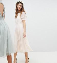 TFNC Pleated Midi Bridesmaid Dress With Spot Mesh Frill Detail - Pink