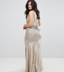 TFNC Plus High Neck Metallic Maxi Dress With Back Knot - Gold