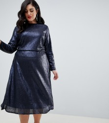 TFNC Plus long sleeve fit and flare sequin midi dress in navy - Navy