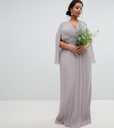 TFNC Plus Pleated Wrap Front Maxi Bridesmaid Dress with Cape Detail - Grey