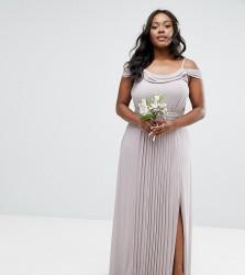TFNC Plus Wedding Cold Shoulder Embellished Maxi Dress - Grey