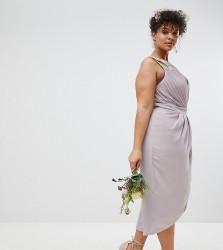 TFNC Plus Wrap Embellished Midi Bridesmaid Dress - Grey