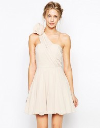 TFNC Prom One Shoulder Dress With Corsage Detail - Cream