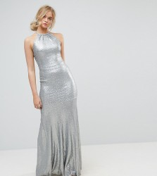 TFNC Tall Allover Sequin Maxi Dress With Strappy Back - Silver
