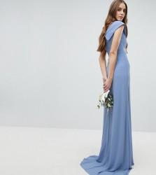 TFNC Tall Bardot Maxi Bridesmaid Dress With Fishtail and Embellished Waist - Blue