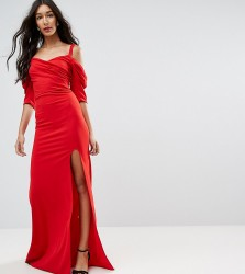 TFNC Tall Fishtail Maxi Dress With 80'S Off Shoulder - Red