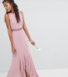 TFNC Tall Maxi Bridesmaid Dress With High Low Hem - Pink